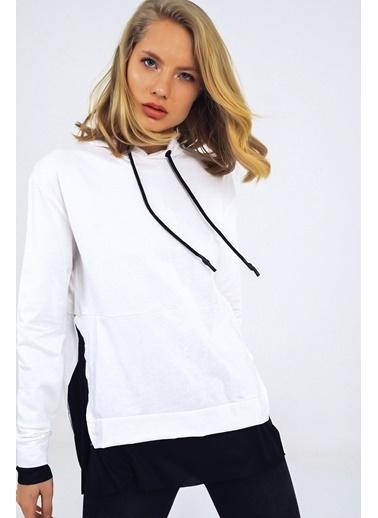 Emjey Kapüşonlu Bel Garnili Sweatshirt Beyaz